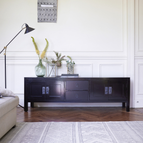 Thaki Black TV Stand in Solid Mahogany 170