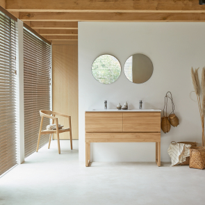 Edgar teak and ceramic bathroom unit 120