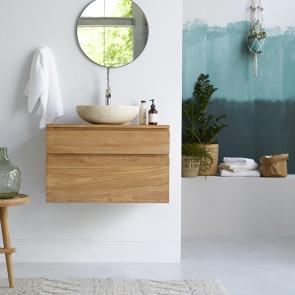 Mueble de baño suspendido de teca 80 Jacob