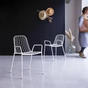 Arty White Metal Armchair