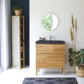Easy Oak and Lava Stone Vanity Cabinet 80