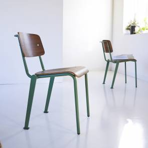 Mio Walnut and Metal Chair Lichen