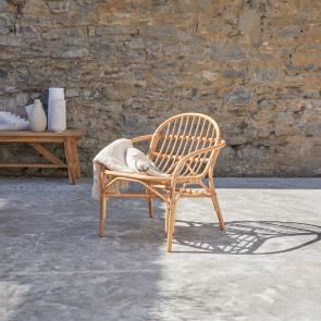Sedia per esterno in Rattan Mina naturale