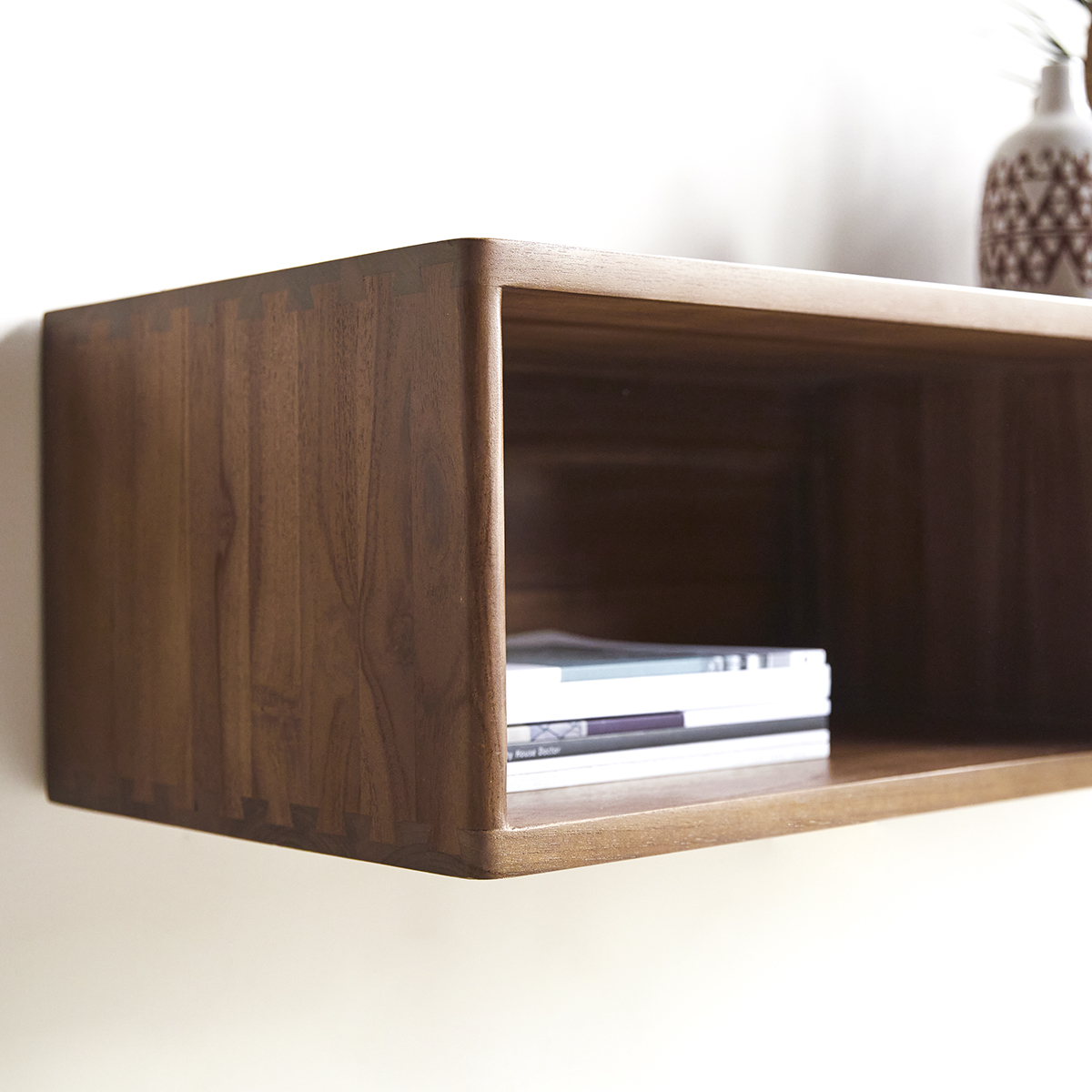 One Drawer Teak Console Table 110 Cm Wall Mounted Unit For The Living Room