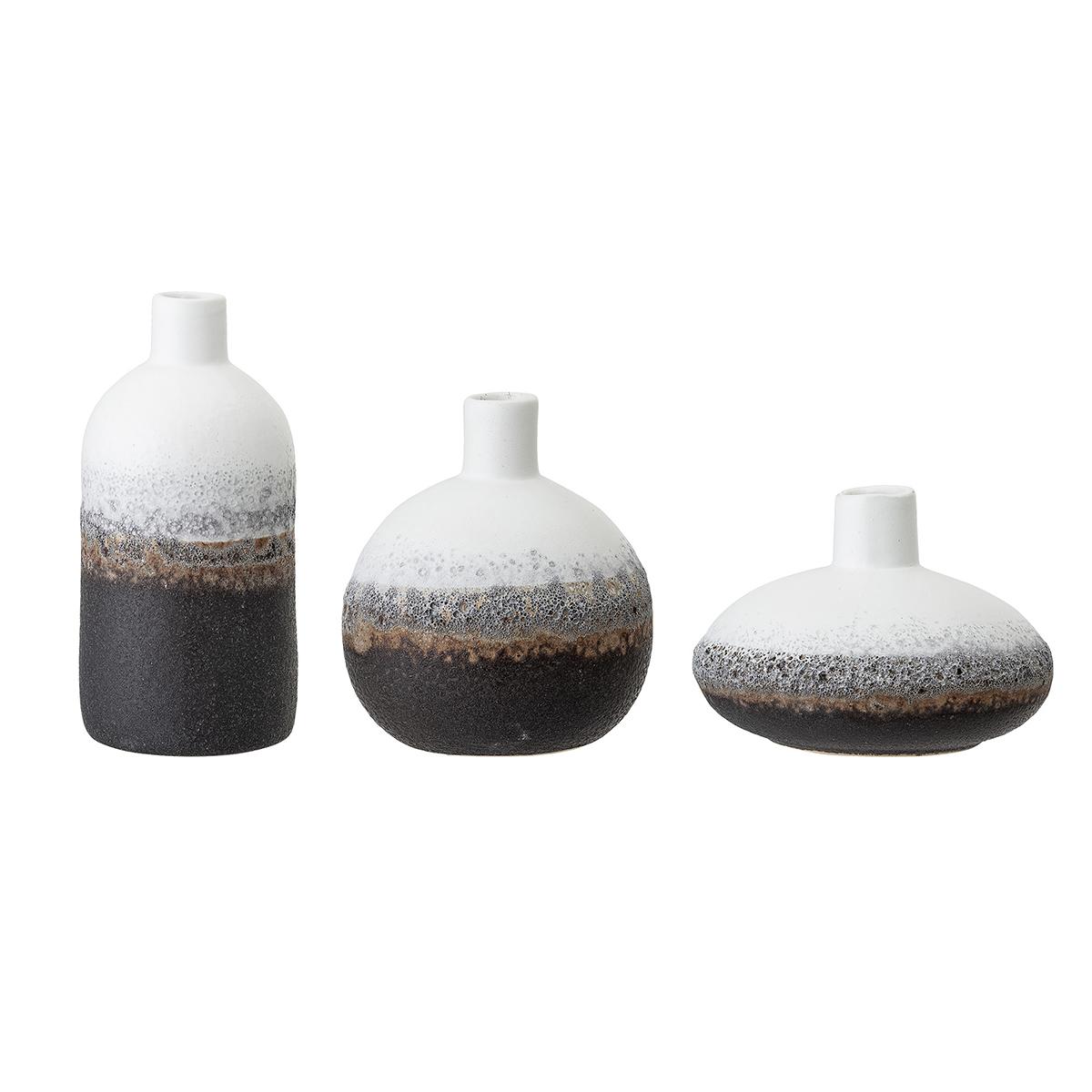TERESAS COLLECTIONS Ensemble de Vases en C/éramique pour Fleurs,Porcelaine Faite /à la Main avec Rayures Cylindriques en Relief pour la D/écoration Int/érieure H19//25cm,Noir et Blanc