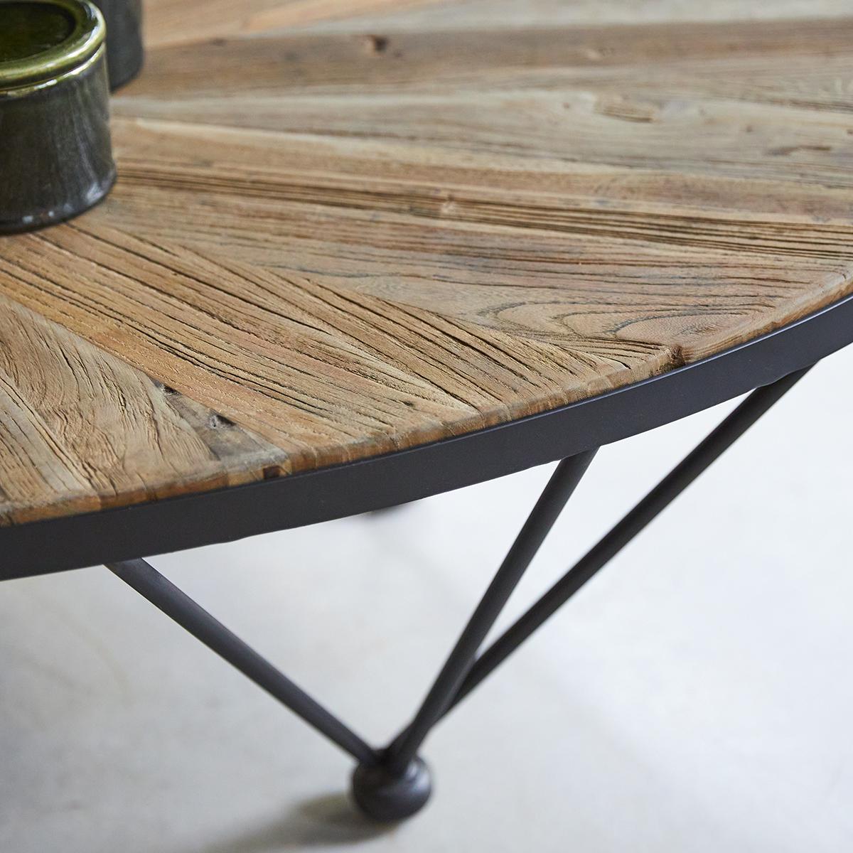 Lancelot Elm and Metal Coffee Table 7x7