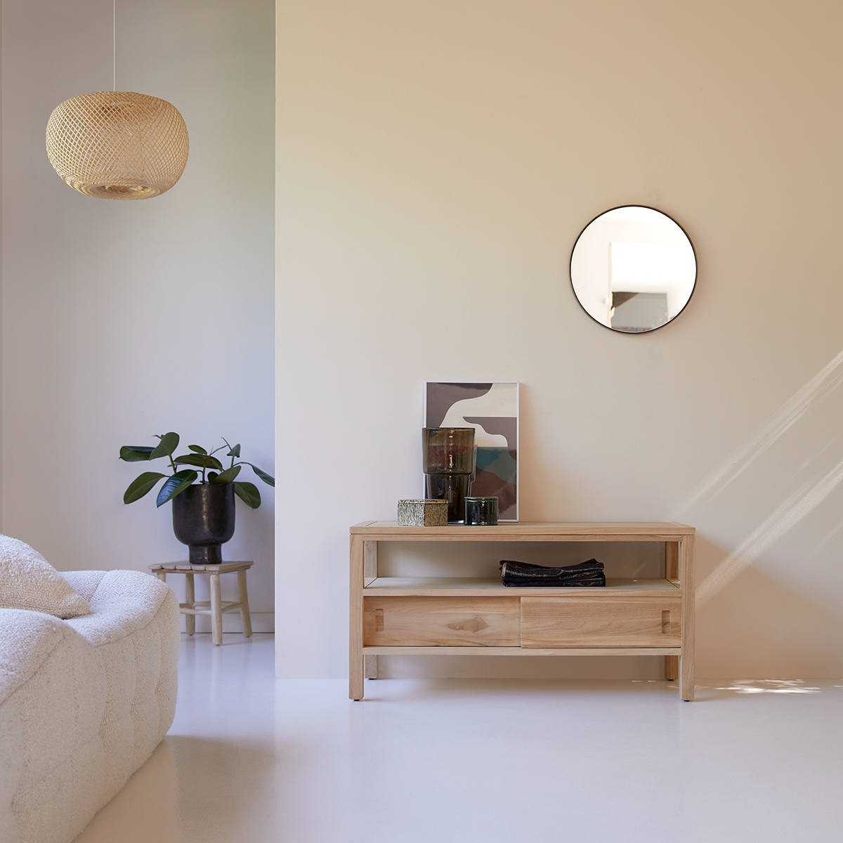 Meuble Tv En Teck 100 Cm Meubles De Rangement Pour Salon Tikamoon