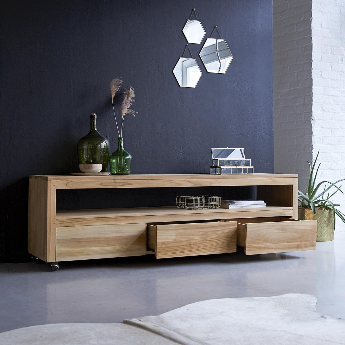 meuble tv en teck massif anoa 180 cm