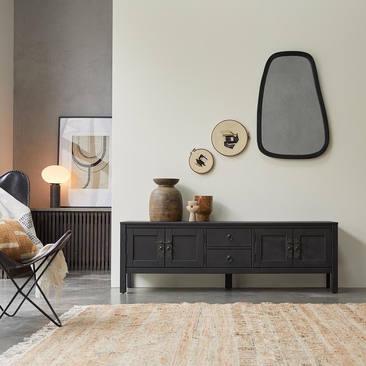 meuble tv wenge thaki black 170 cm