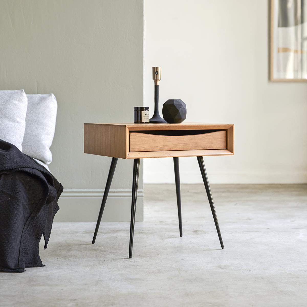 Picture of: Teak Bedside Table 50cm 1 Drawer Bedroom Furniture Tikamoon