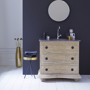 Hermione Pine and stone Vanity Cabinet 90