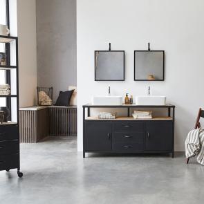 Industriel Metal and Mango Vanity Cabinet 140